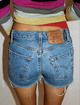 VINTAGE Retro Levi's 501 Original 1980's Blue Denim Button Fly Shorts  #VIN78