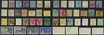 25 different STRAITS SETTLEMENTS - MALAYA perfins from OLD Worldwide collection