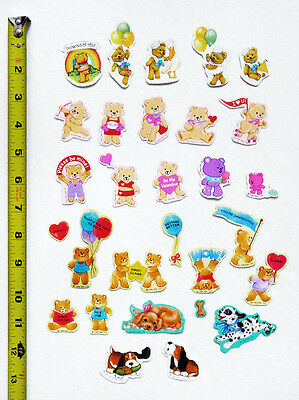 29 Lot/Pc VINTAGE 1980s HALLMARK Bears & Dogs Collectible Scrapbook Stickers