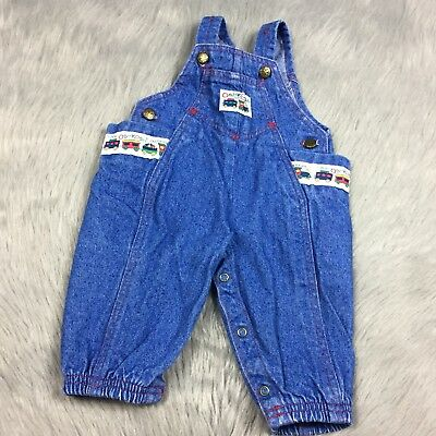 Vintage Oshkosh Bgosh Baby Boys Vestbak Blue Denim Train Overalls