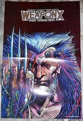 """WEAPON X poster WOLVERINE 17"""" X 11"""" BARRY WINDSOR-SMITH MARVEL LCS Promo 1990"""