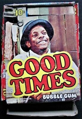 1975 TOPPS GOOD TIMES box plus 36 Wrappers<>Box rough<>Wrappers are Excellent