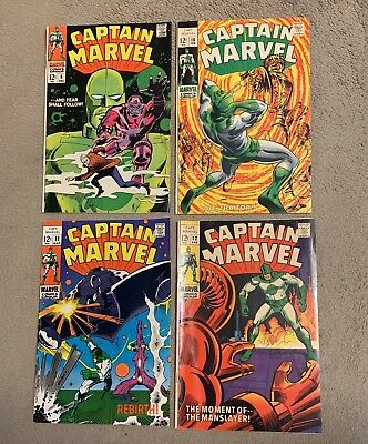 Captain Marvel 1968 Series Lot Issues 8 10 11 and 12 VG to F (4 Books)