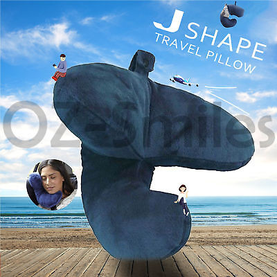 Neck Pillow Flight J Shaped Head Chin Support Pillow Soft For Travel Work Home