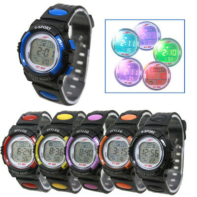 Cool Kids Girl Boy LED Light Wrist Watch Alarm Date Digital Electronic Sport