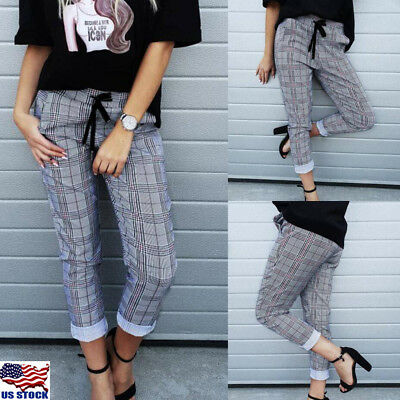Womens OL Lady High Waist Plaid Check Casual Trousers Slim Fit Skinny Long Pants