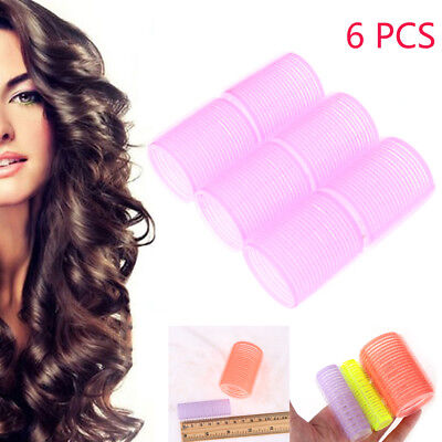 6pcs Large Self Grip Hair Salon Rollers Curlers Tools Hairdressing Tool Soft DIY