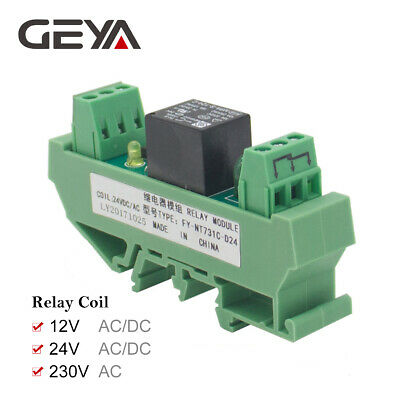 GEYA 1 Channel Relay Module ACDC 24V 12V 230V Din Rail Mounted GSM Relay Control