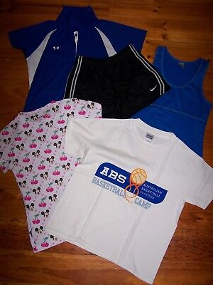6 x BULK LOT Girls Tops, Shorts and PJ Bottoms NIKE, UNDER ARMOUR etc. Size XS