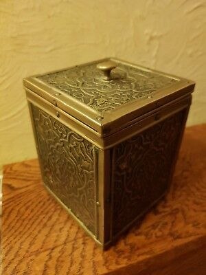 Antique Anglo Indian Tea Caddy Wood and Embossed Brass Arts and Crafts Style