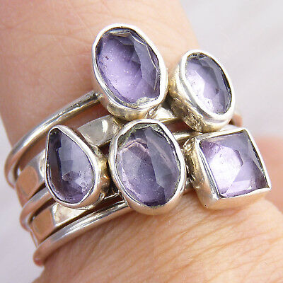 5-STACK Rings Size US 6.5 SILVERSARI Solid 925 Sterling Silver Amethyst STR1017