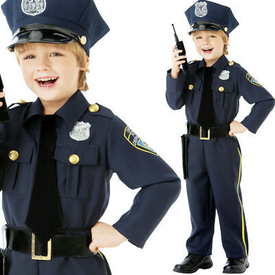 Kids Police Boy Costume Fancy Dress Officer Uniform Age 4-10 Years Kit Amscan