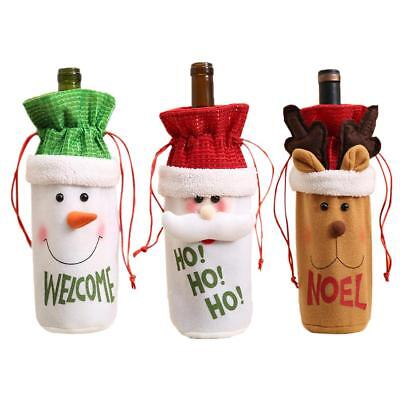 Christmas Red Wine Bottle Beer Cover Bags Snowman Santa Claus Table Party Decor