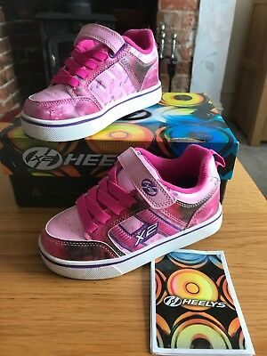 Heelys Size 11 Uk Girls Pink And Purple X2 Light Up Very Good Condition In Box