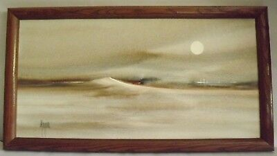 Original Modern Oil On Canvas Seascape Sand Dunes Signed Meyers Framed