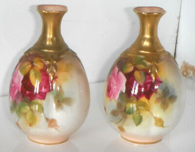 Pair of Royal Worcester Hadley Roses Vases 11cm Millie Hunt 283