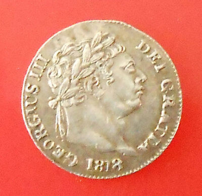 GB British 1818 George III silver Maundy penny coin.