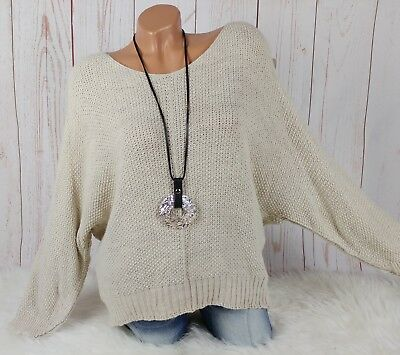 MADE IN ITALY Fledermaus Pullover Herbst Winter Boho natur 36 38 40 42 44 d1eb58f99c