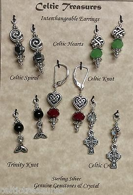 Celtic earrings 5 pair Celtic Knot, Trinity, Spiral, Cross gemstones Crystals