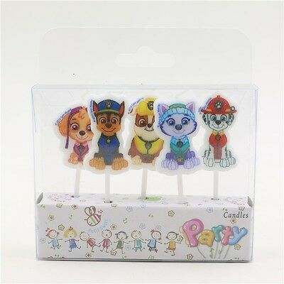 5 x Paw Patrol Candles Birthday Cake Toppers Party Chase Rubble Sky Ryder