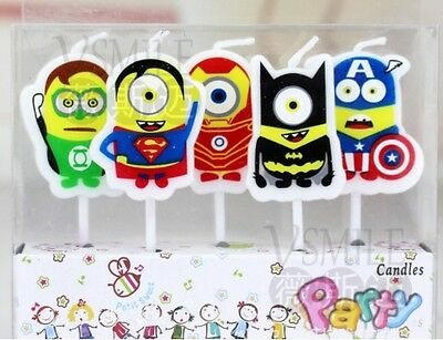 5 x Minion Hero Candles Marvel Despicable Me Happy Birthday Cake Toppers Party
