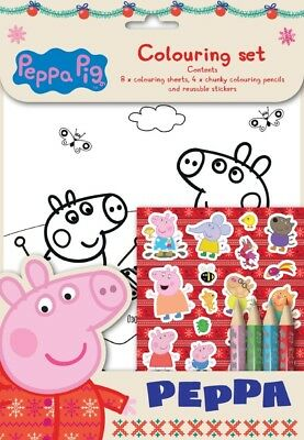 10x Peppa Pig Xmas Colouring Set- Party Bag Stocking Wedding PEXCST