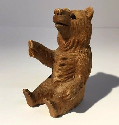 Antique Top Quality Carved Swiss / Black Forest Bear Figure With Glass Eyes.