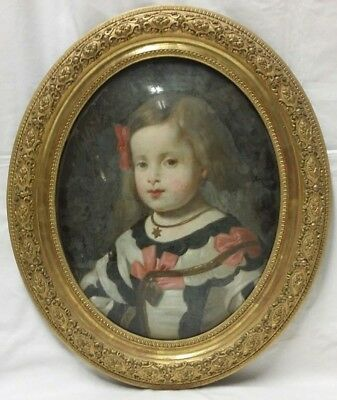 Beautiful Oval Oil on Glass Portrait Painting of Henrietta Maria Circa 1890