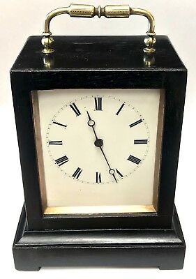 Antique Ebonised Mantel Carriage Bracket Clock With Carry Handle Circa 1870