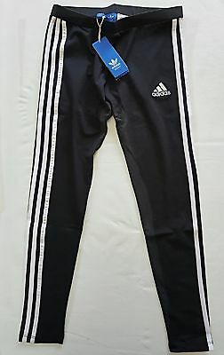 Women Ladies Adidas Essential 3 Stripes Leggings Size 8 10 12 14 Black Stretchy