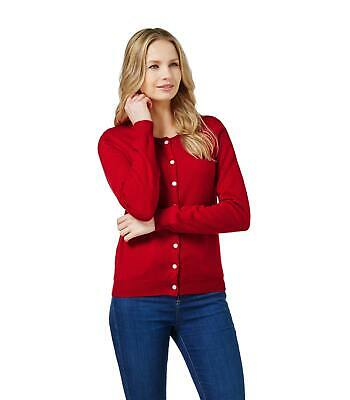 daeea41b4d09 WoolOvers Ladies Cashmere and Merino Luxury Crew Neck Cardigan Jumper  Sweater