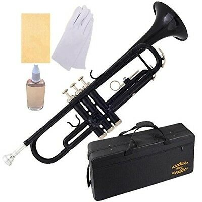 (black) - Glory Brass Bb Trumpet with Pro Case +Care Kit, Black, More colours