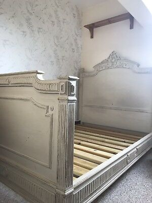 Antique French Double Bed Restored In Shabby Chic Style