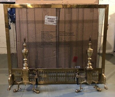 Vintage Colonial Style brass fireplace screen