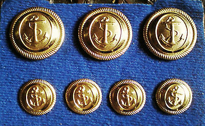 7 VINTAGE BRASS Anchor Captain's Military Navy Buttons 3 Large 1