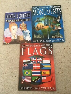 Unused collection of 3 kid's sticker books - Flags, Monuments and Kings & Queens
