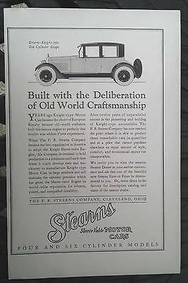 vintage 1923 F.B. Stearns Knight coupe auto car original print advertising