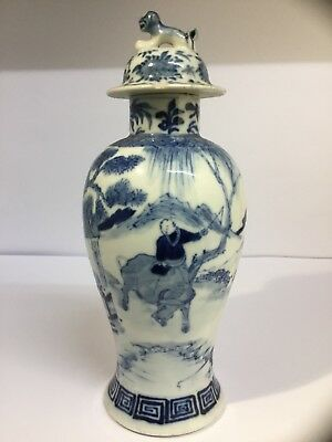 Antique Chinese Hand Painted Blue White Kangxi Revival 19th Century Lidded Vase