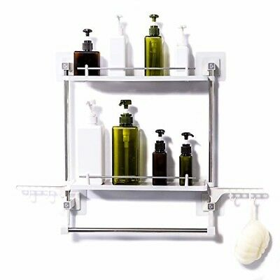 Bathroom Shelf No Drilling 2 Tiers with Towel Rack and Hooks Kitchen Storage