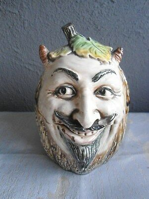 Ancien Pot A Tabac En Ceramique Barbotine Diable Grotesque