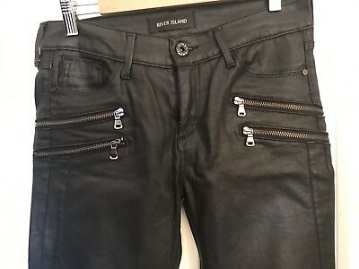 Ladies River Island Black Coated Skinny Molly Jeans Size 12
