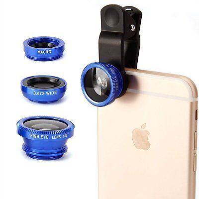 For Cell Phone Blue Fish Eye + Wide Angle + Macro Camera 3 in1 Clip-on Lens Kits