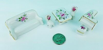 Miniature Porcelain Doll house Furniture Ceramic Flower Design Sofa Table Piano