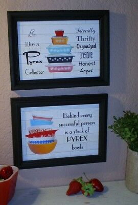 "Pyrex bowls, dishes in 2 PYREX WALL HANGING art PRINTS 5""x7"" Be like a collector"