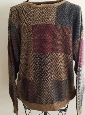 Mens Gianfranco Ruffini Italy Sweater Woven Knit Checkered Acrylic Size X-Large