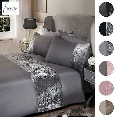 Sienna Crushed Velvet Panel Duvet Cover with Pillow Case Bedding Set From £9.95