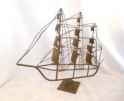 "Antique ONE of a KIND Handmade~STEEL~Large Sailing Clipper Ship~Signed~20"" tall"