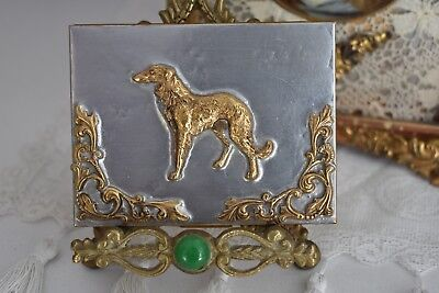 Fabulous Vintage Collectible BRASS ~CIGARETTE CASE~ Ormolu Accents Brass DOG