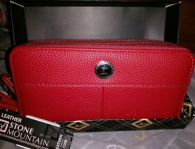 NWT Stone Mountain Leather WALLET Double Zip Around Clutch in RED Leather