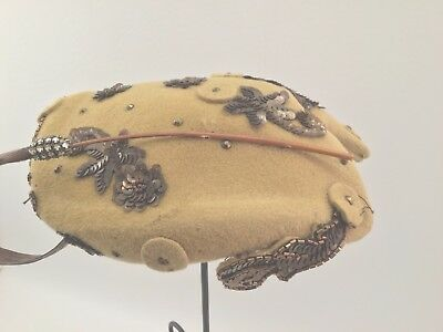 Fantastic 30's or 40's Gold Felt Hat with Wooden Feather , Antique Gold